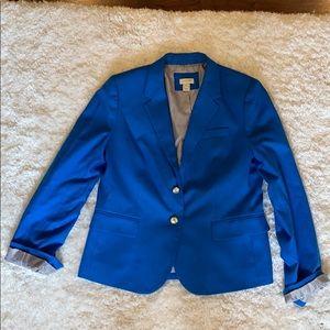 J.Crew bright blue blazer with stripes interior